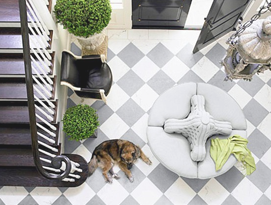 Grey and white checkered tile