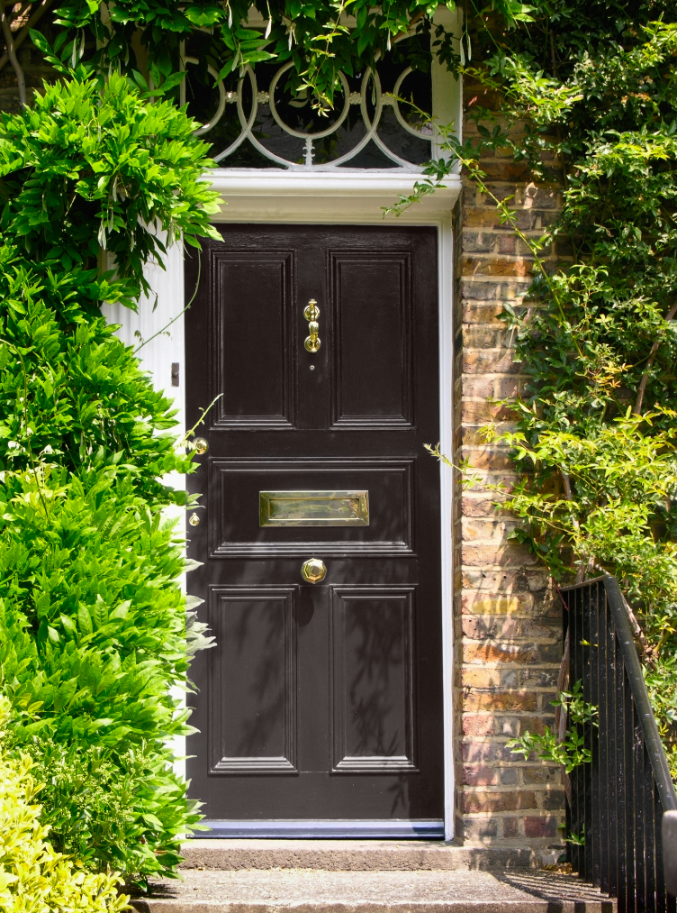 Black Front Door Paint With Brown Windows