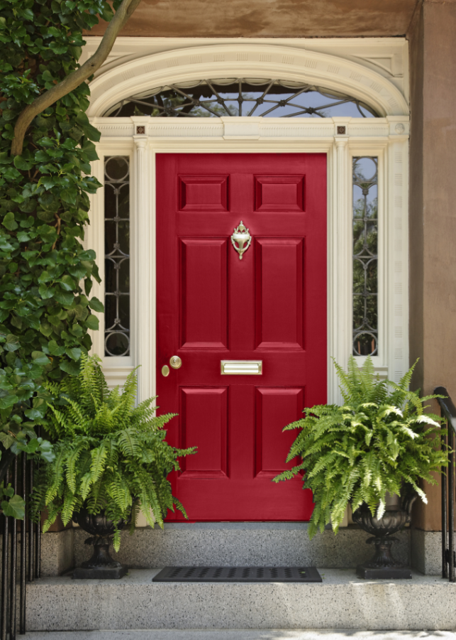 Front Door Colors For Brown House Beauteous With Red Front Door Colors Pictures