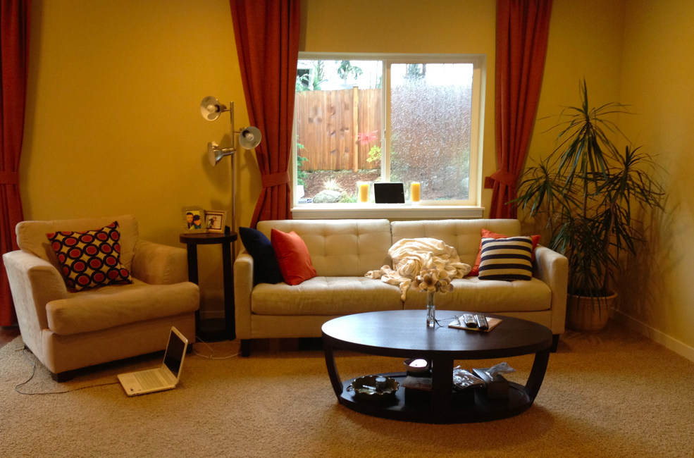 A happy yellow living room before after maria killam for Living room yellow accents