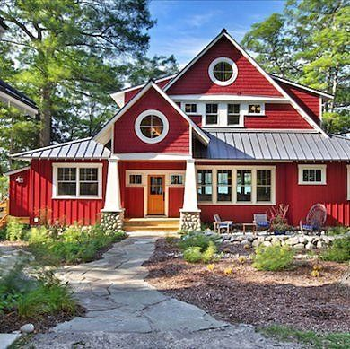 Red house with White Trim