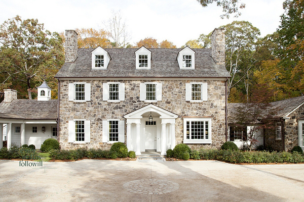 Stone Exterior With White Trim