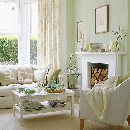 How to coordinate white cream if you made a mistake Living room ideas with light green walls
