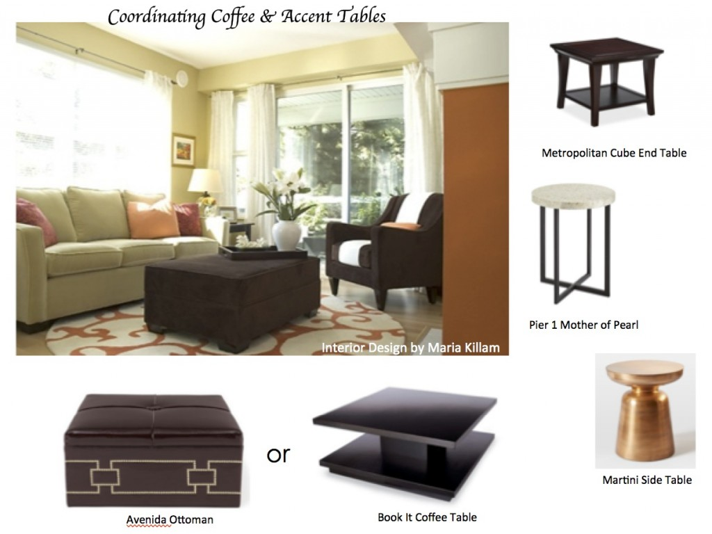 How To Coordinate Coffee Accent Tables Like A Designer Maria - Pottery barn metropolitan coffee table