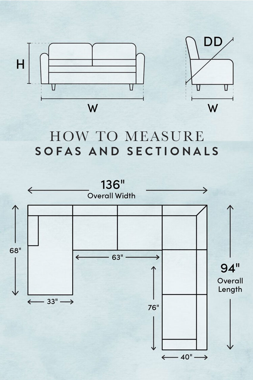 How to measure a sofa and sectional