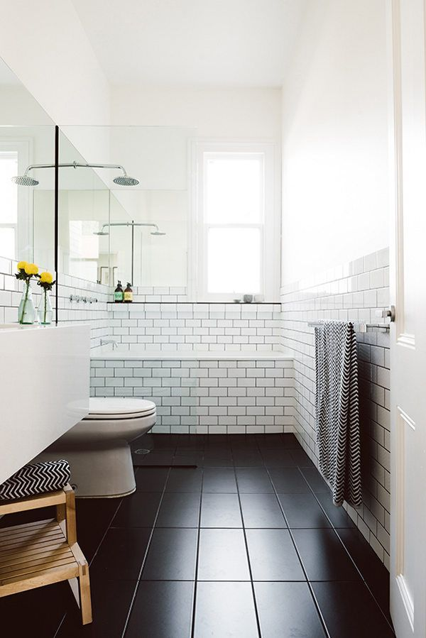 Do 39 s don 39 ts for decorating with black tile maria - White subway tile with black grout bathroom ...