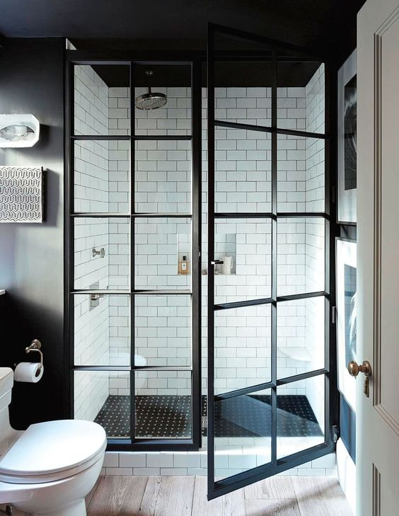 Black shower door bathroom