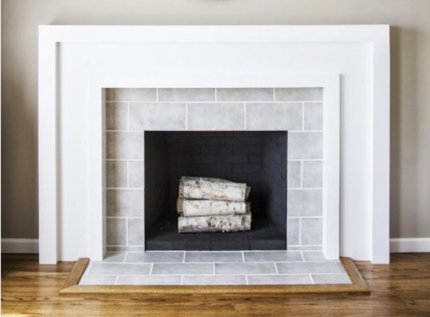 Subway tile around fireplace