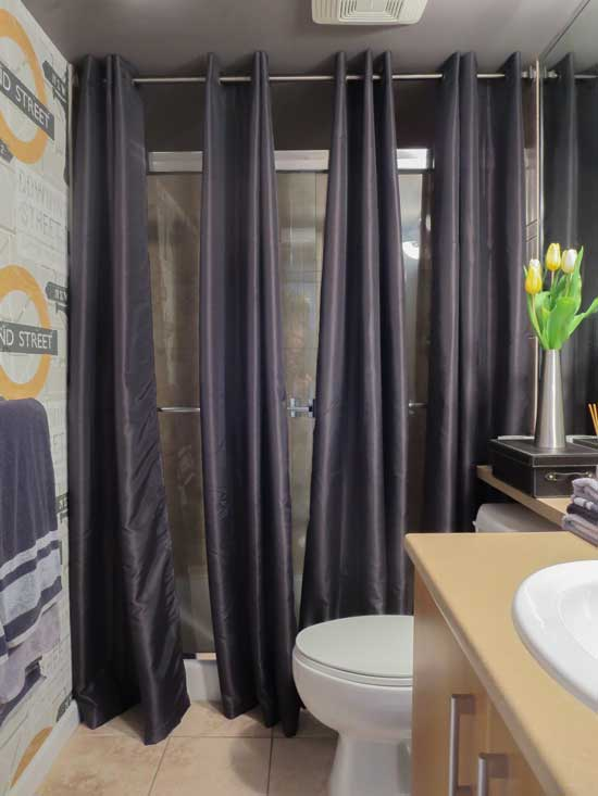 The best way to cover dated shower doors maria killam the true colour expert - Pictures of curtains ...