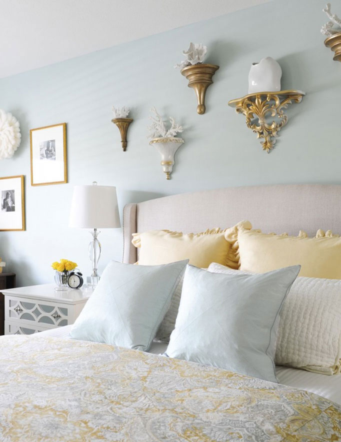 Master Bedroom Design | Decorating with Blue | Duvet Cover Ideas | Upholstered Headboard | Wall Art Design