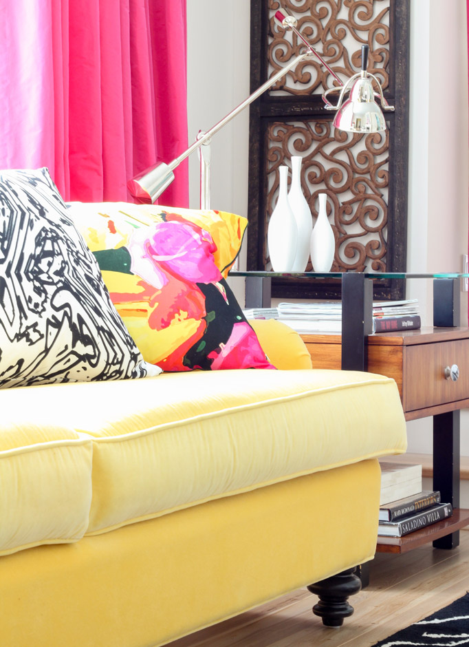 Yellow sofa | Living Room | Decorating with Pink | Decorating with Black | Styling Ideas