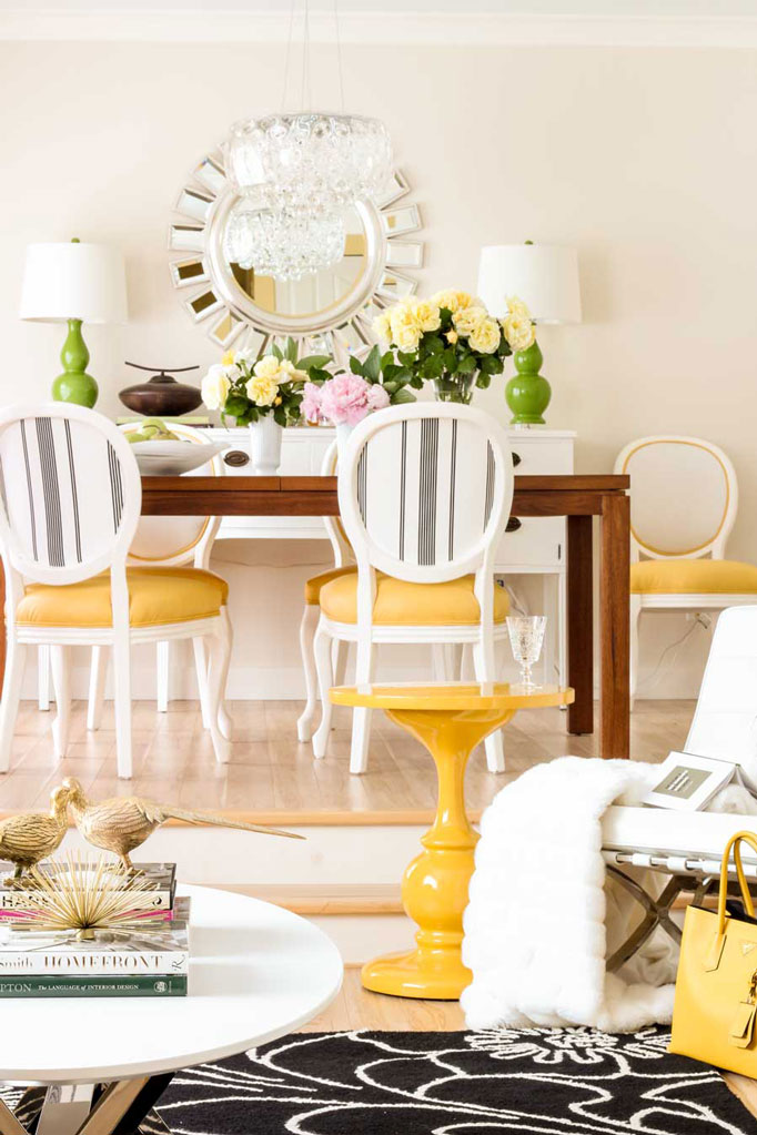 Dining Room | Living Room | Decorating with Yellow | Table Lamps | Decorating with Black