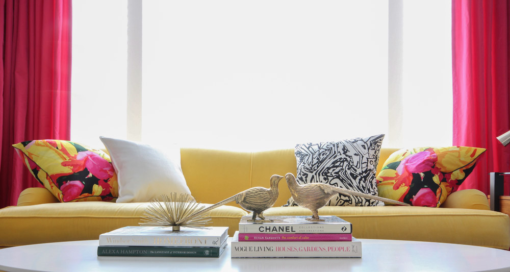 Yellow sofa | Living Room | Decorating with Pink