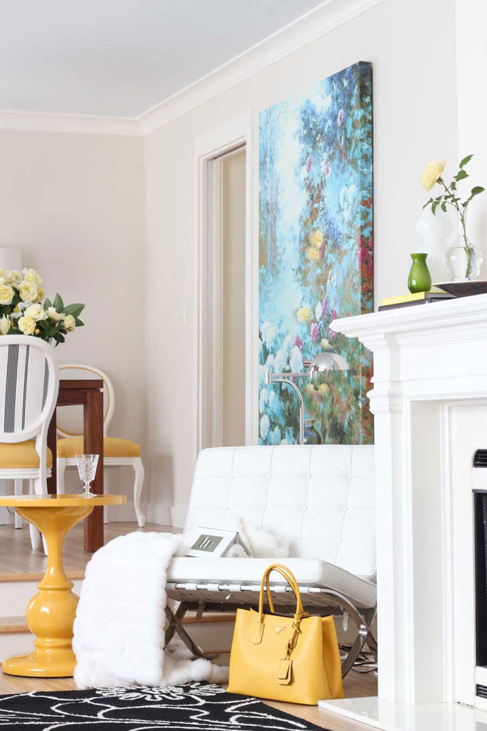 Classic White Fireplace | Barcelona Chair | Dining Room | Living Room | Decorating with Yellow | Decorating with Black