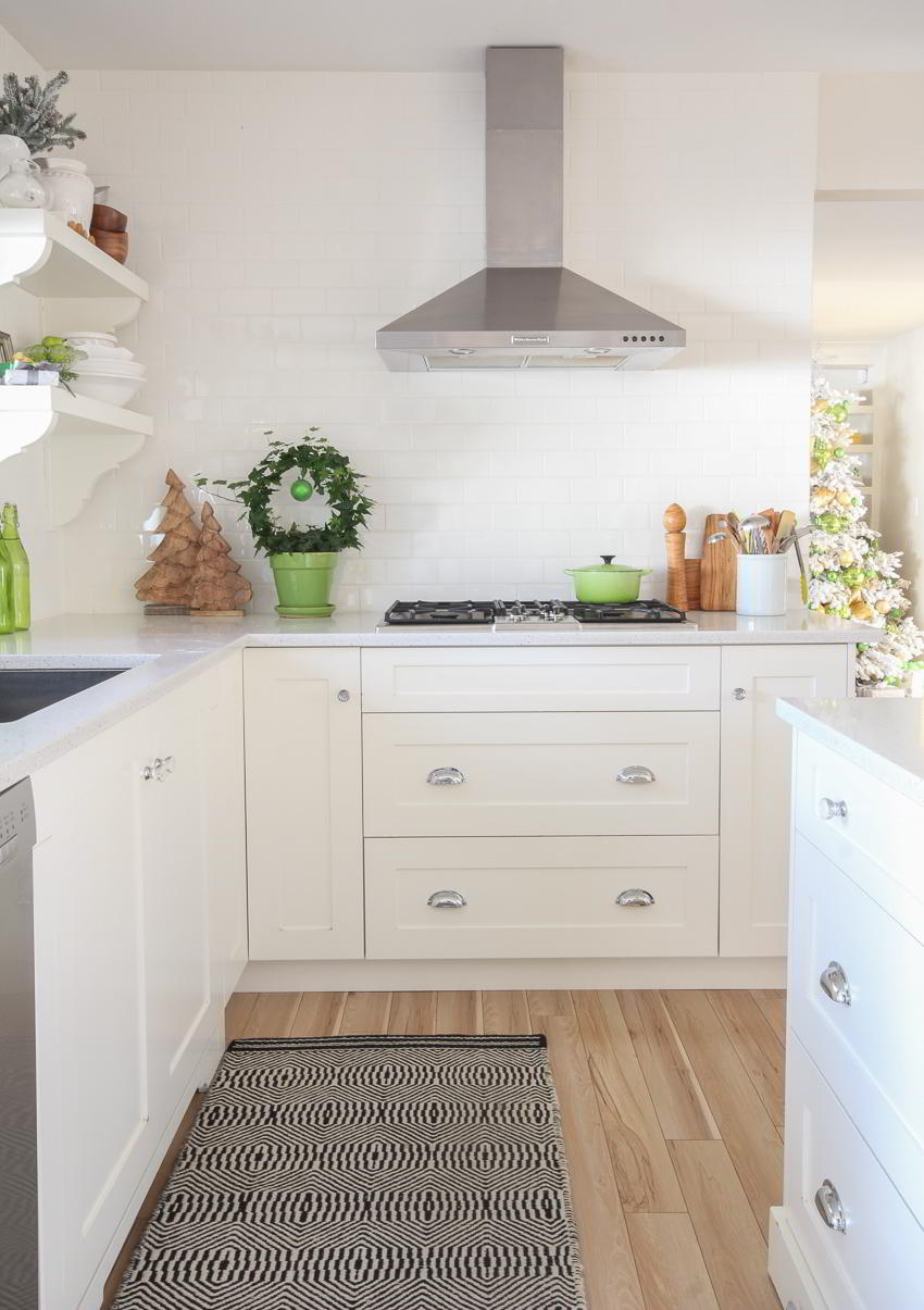 White subway tile backsplash holiday kitchen