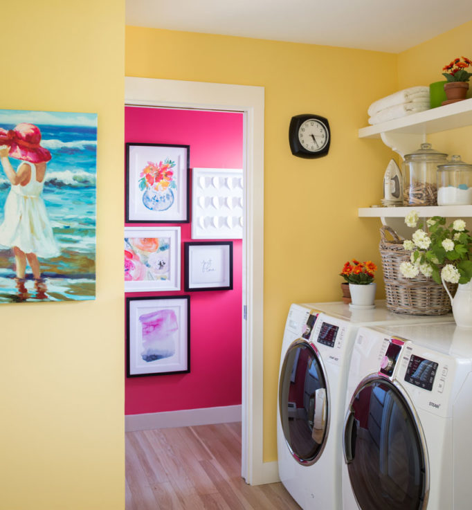 Laundry Room Design | Decorating with Colour | Pink Powder Room | Bathroom Design | Creating Flow