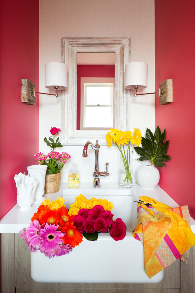 Decorating with Colour | Pink Powder Room | Bathroom Design | Farmhouse Sink | Styling Ideas