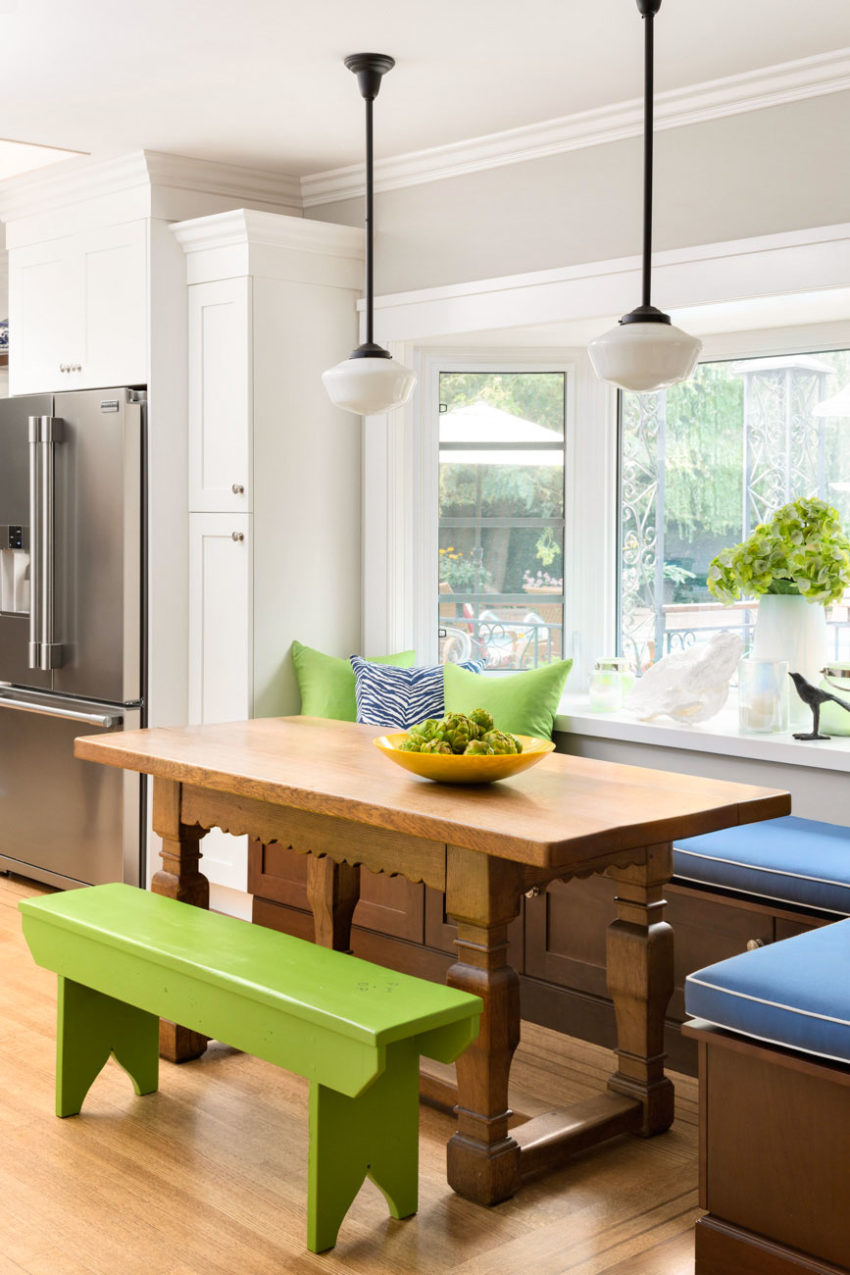 Kitchen Eating Area | Bench Seating | Pendant Lighting | Decorating with Blue & Green | Farmhouse Kitchen Design