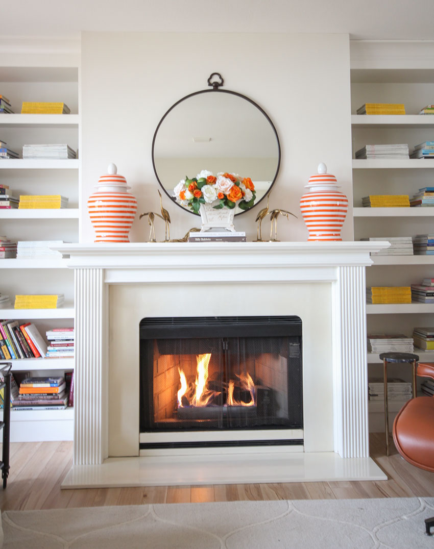 the easy way to style a fireplace mantel