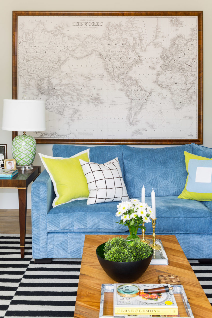 World Map Artwork | Colourful sofa | Blue Sectional | Family Room Design | Styling Ideas | Family Room Lighting | Decorating with Blue & Green