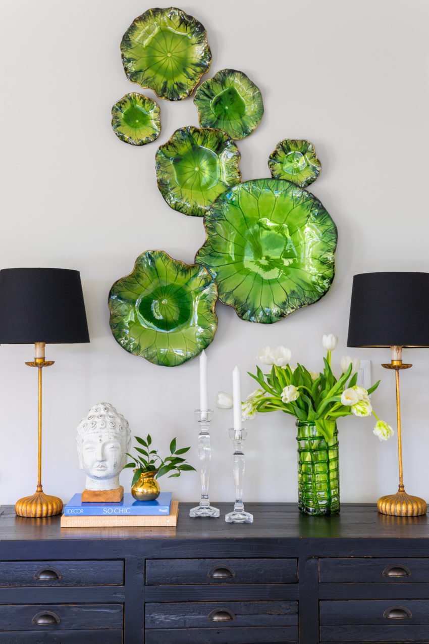 Sideboard Styling | Vignettes | Dining Room Art | Decorating with Blue & Green