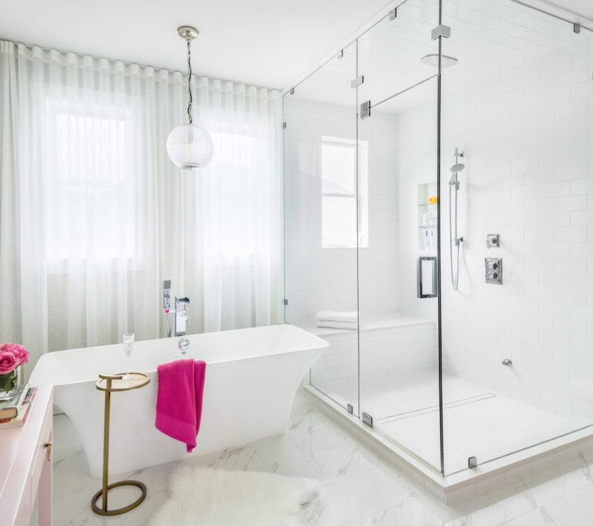 White Bathrooms | Master Ensuite Bathroom Design | Bathroom Lighting | Steam Shower | Freestanding Tub | Bathroom Sheers | Subway Tile Wall Surround | His and Her's Bathroom