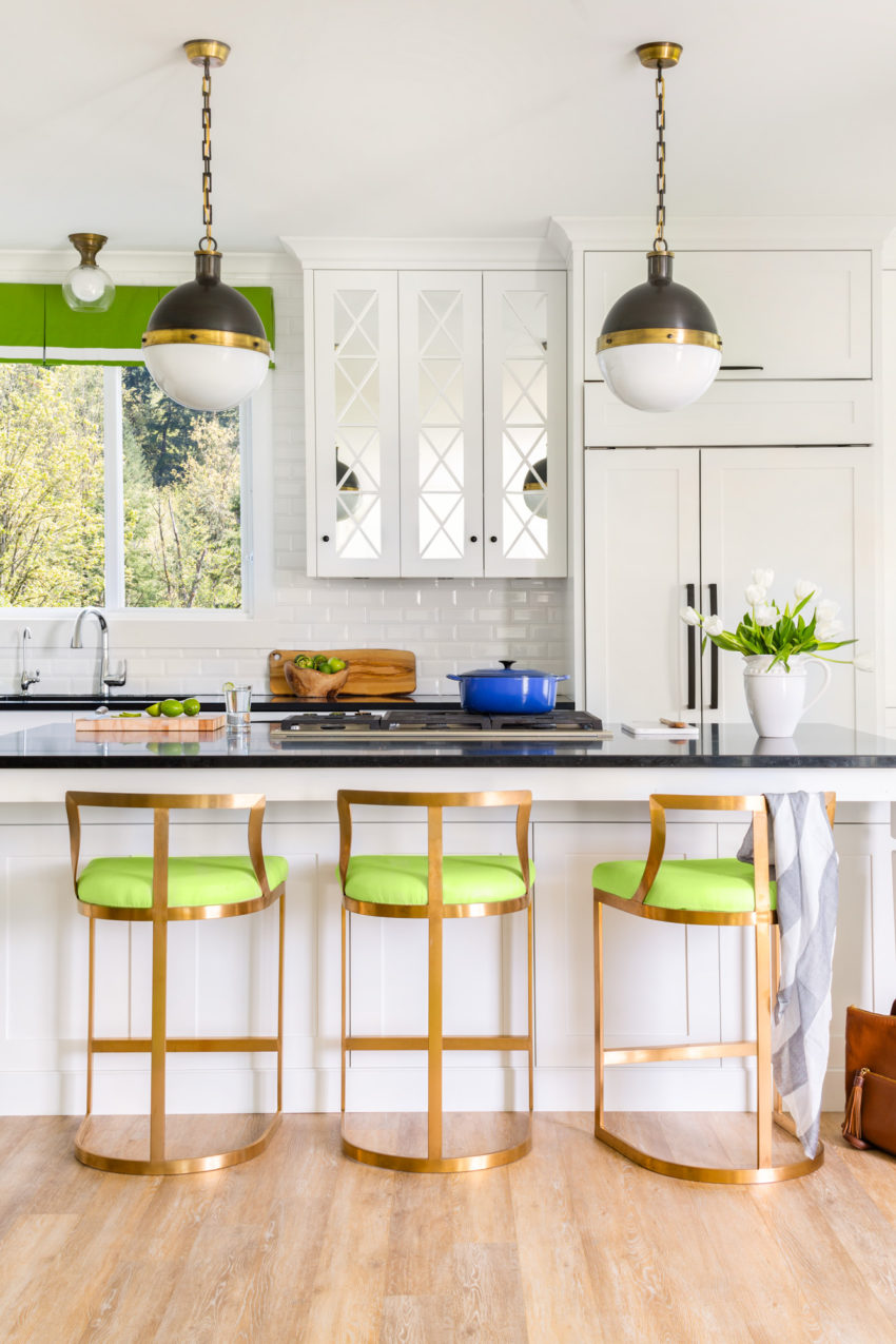 White kitchen design | Decorating with green | Interior Design by Maria Killam | Timeless and Classic Kitchen Design | White Shaker Cabinets