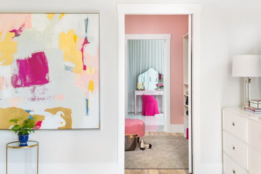 Decorating with Pink | Walk In Closet Design | Master Ensuite Bathroom Design | Bedroom Artwork