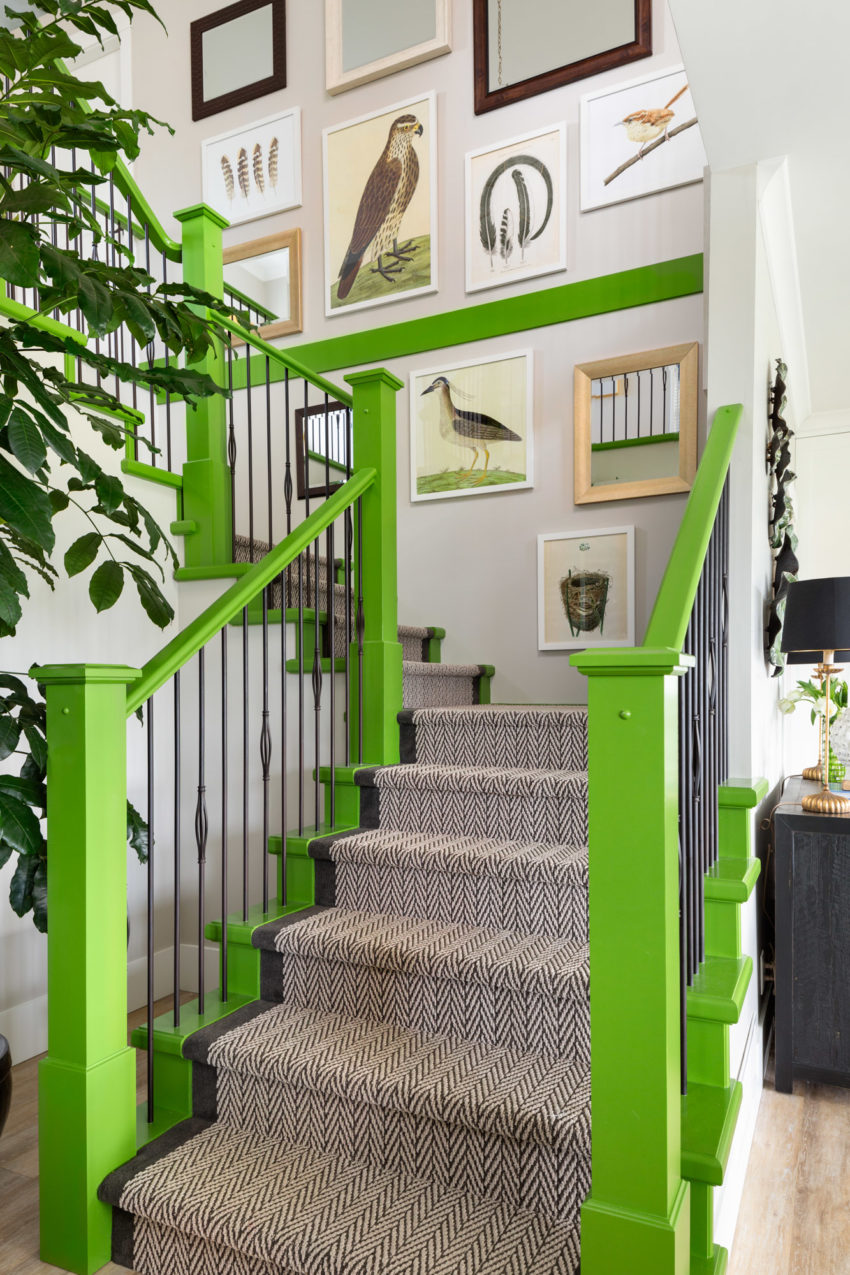 Staircase Design | Decorating with Green | Gallery Wall
