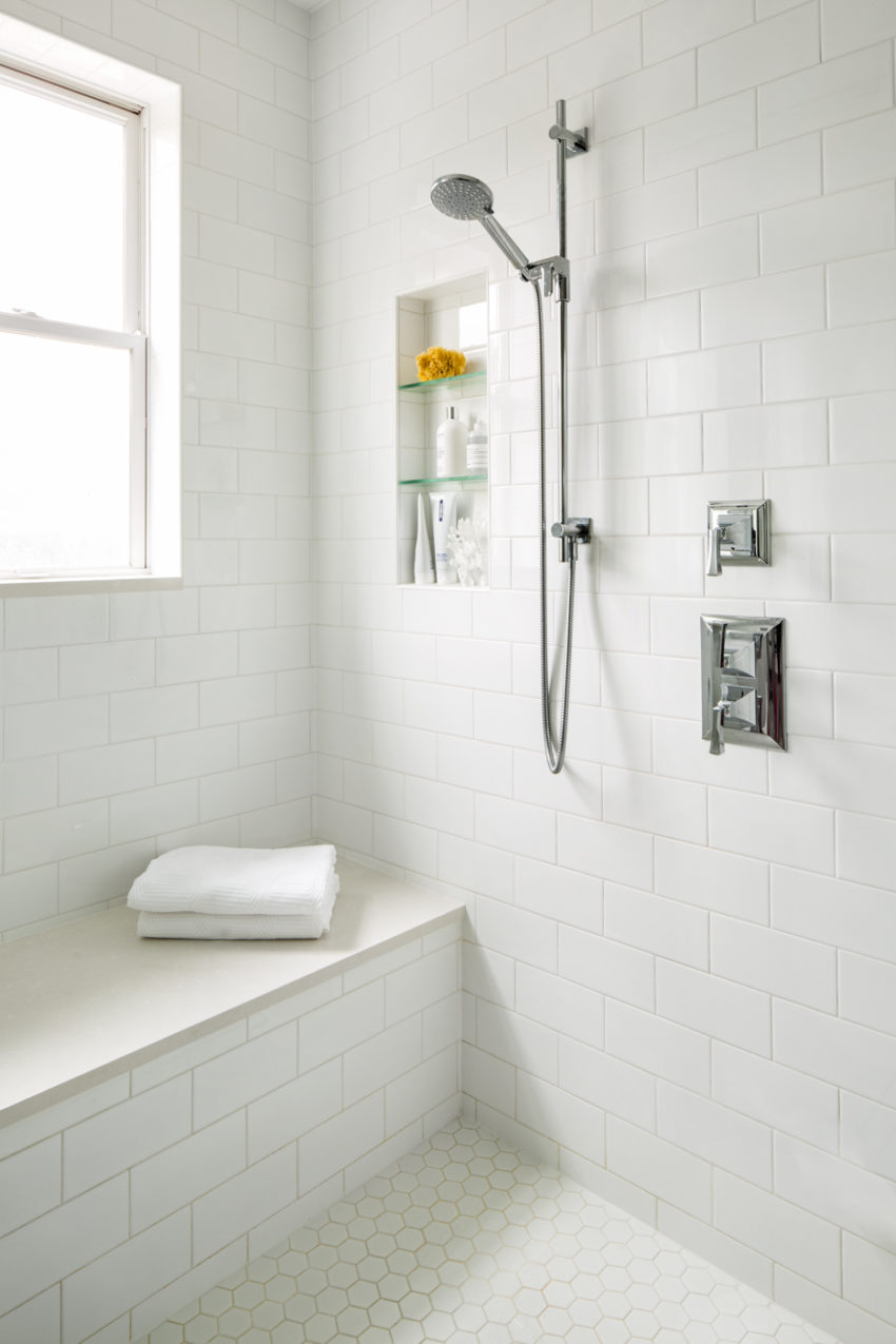 White Bathrooms | Master Ensuite Bathroom Design | Steam Shower | Subway Tile Wall Surround
