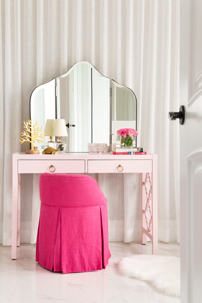 White Bathrooms | Master Ensuite Bathroom Design | Makeup Station | Pink Makeup Desk | Decorating with Pink