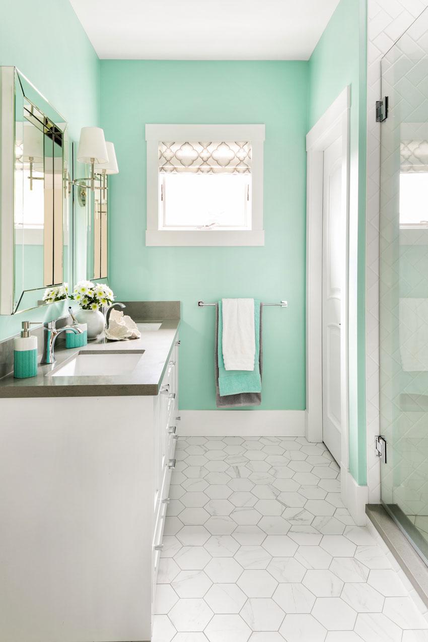 Bathroom Design | White Bathrooms | Hex Tile Floor | Turquoise Bathroom