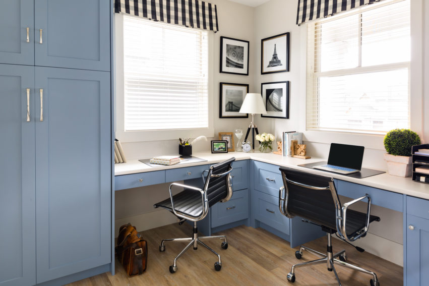 Office Design | Decorating with Blue | Blue Shaker Cabinets
