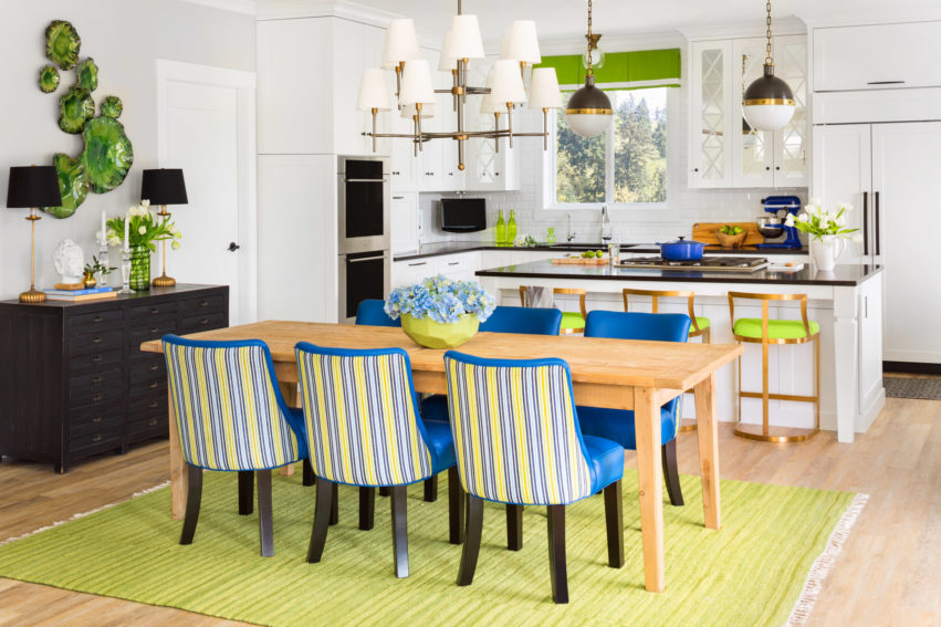 Sideboard Styling | Dining Room Design | White Kitchen | Open Concept Kitchen | Decorating with Blue & Green
