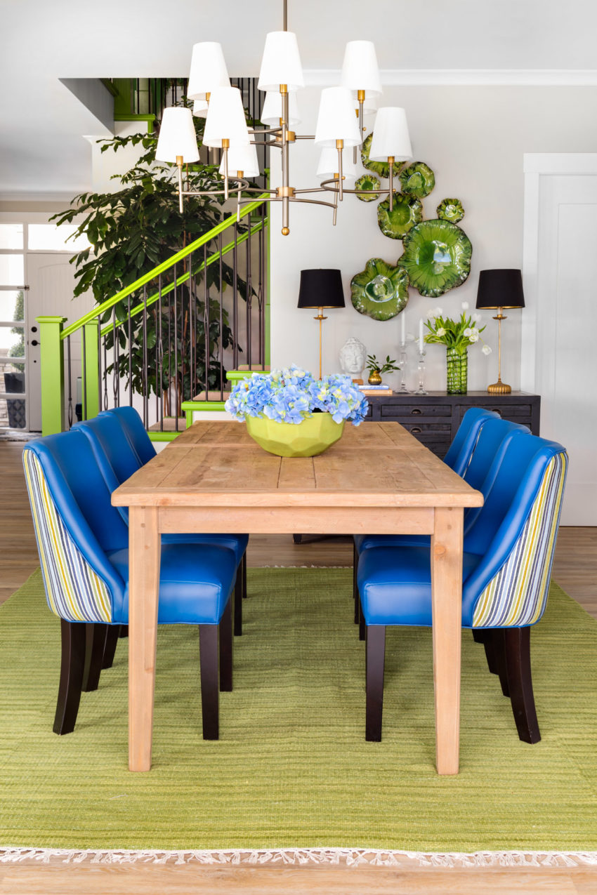 Sideboard Styling | Dining Room Design | Dining Room Lighting | Decorating with Blue & Green