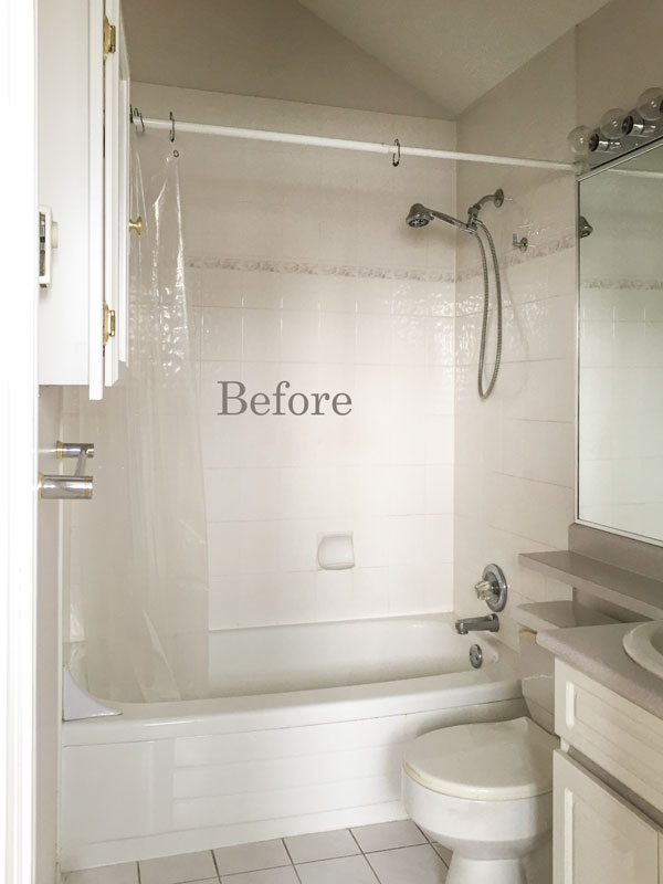 Transform your Bathroom with a Shower Curtain; Before & After