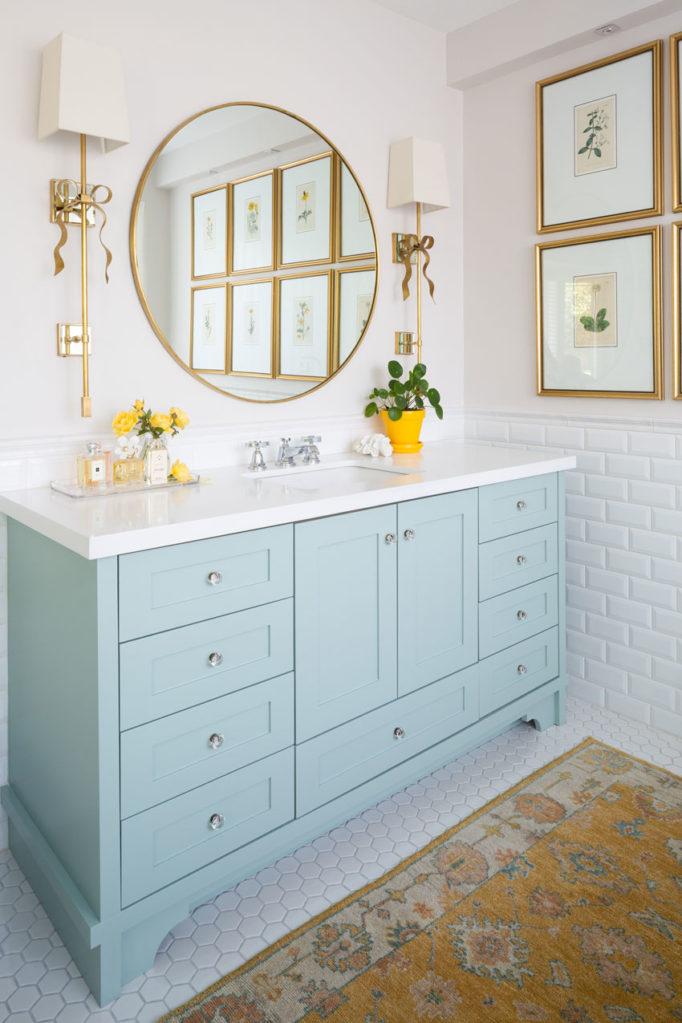 Decorating with Colour | Master Ensuite Bathroom | Bathroom Design | Bathroom Artwork | Styling Ideas | Classic White Bathroom | Blue and Yellow Bathroom | Gold Bathroom Mirror | Botanicals