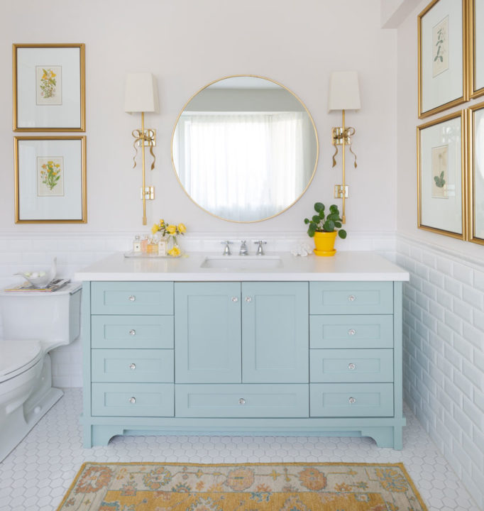 Decorating with Colour | Master Ensuite Bathroom | Bathroom Design | Bathroom Artwork | Styling Ideas | Classic White Bathroom | Blue and Yellow Bathroom | Gold Bathroom Mirror | Botanicals