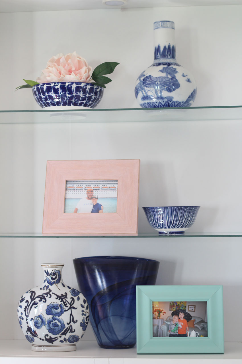 Decorating with Pink | Bookcase Styling | Decorating with Pink & Blue