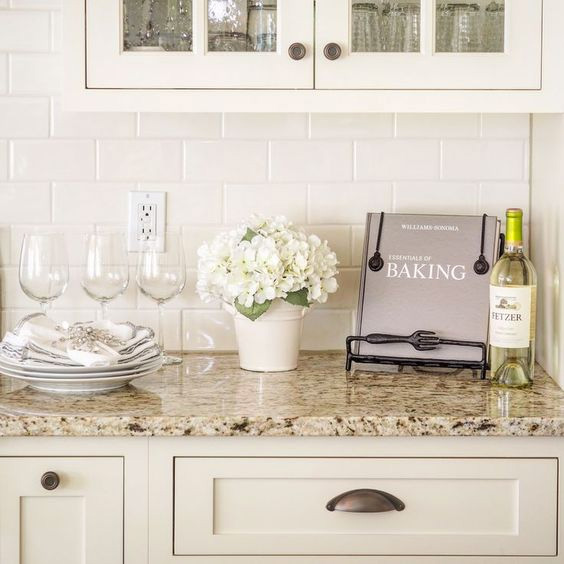 Cream kitchen subway tile