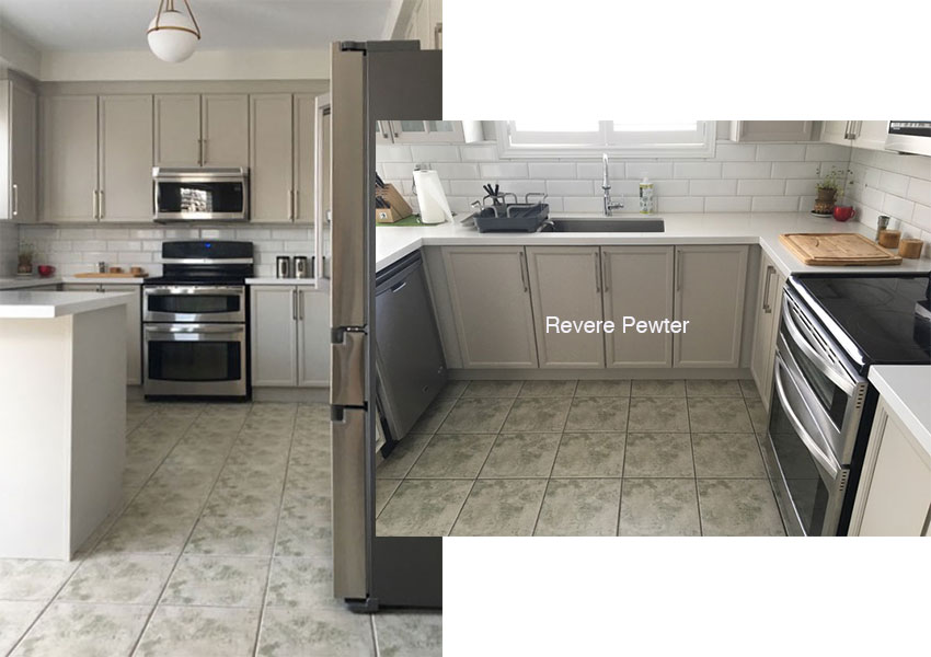 Ask Maria: Help my Revere Pewter Cabinets look Purple! on mint green kitchen cabinets, white kitchen cabinets, sage green kitchen cabinets, two tone kitchen cabinets, rta kitchen cabinets, cream kitchen cabinets, light kitchen cabinets, color kitchen cabinets, blue kitchen cabinets, yellow painted kitchen cabinets, green painted kitchen cabinets, tan kitchen cabinets, neutral kitchen cabinets, brown kitchen cabinets, eggshell kitchen cabinets, charcoal gray kitchen cabinets, glazed kitchen cabinets, buttermilk kitchen cabinets, painting kitchen cabinets, espresso kitchen cabinets,