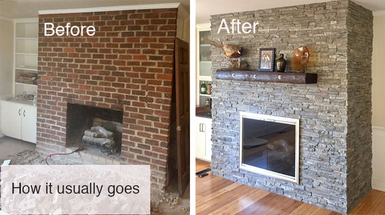 Stone Fireplace Makeover, Can I Cover My Brick Fireplace With Stone