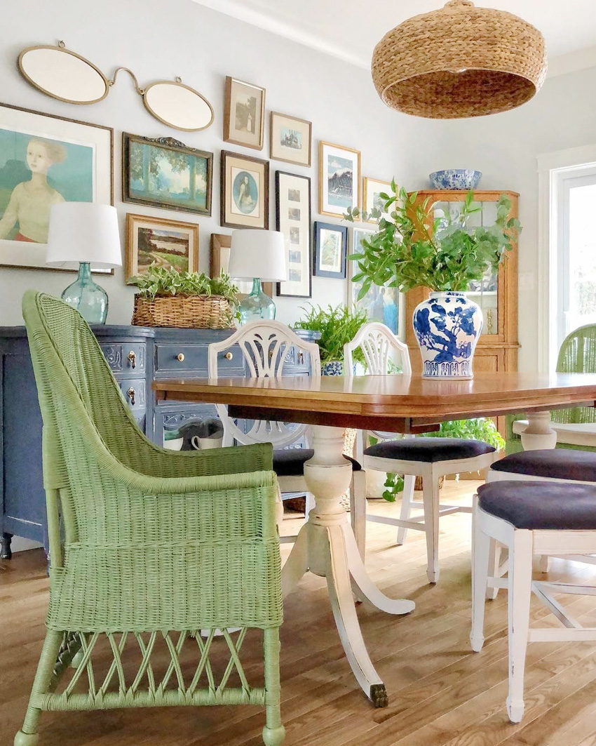 Dining Set mixed with green wicker dining chairs