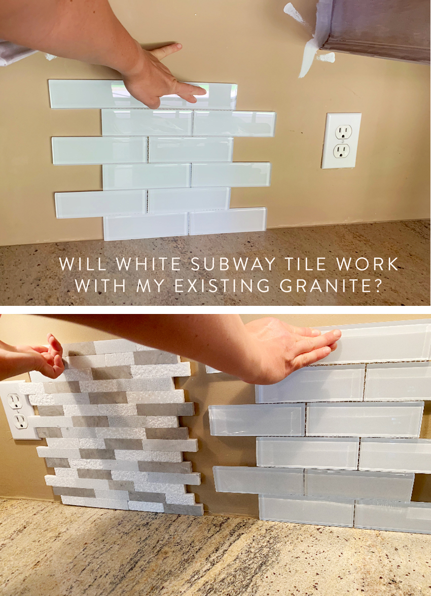 white subway tile with granite