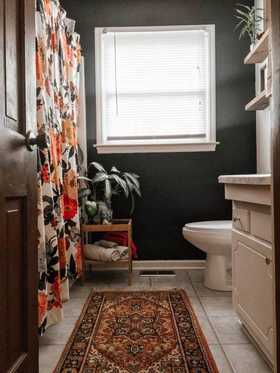 black bathroom wall eclectic