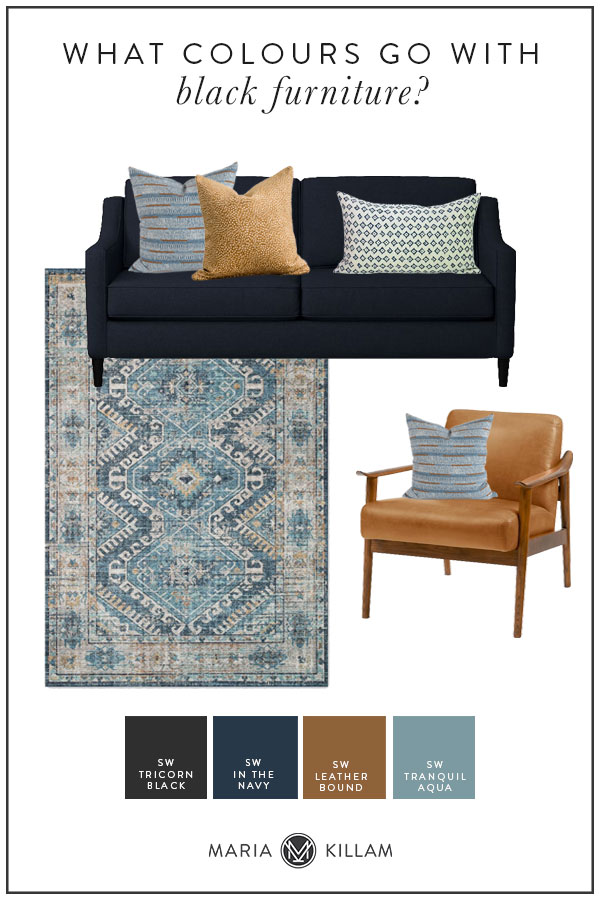 colours that go with black sofa