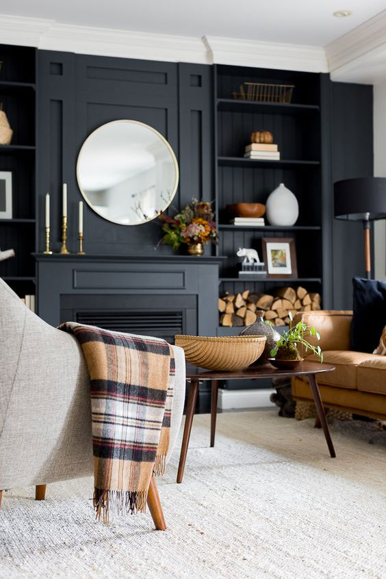dark paint colour living room walls