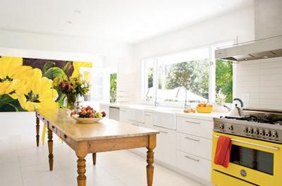 White kitchen yellow accents