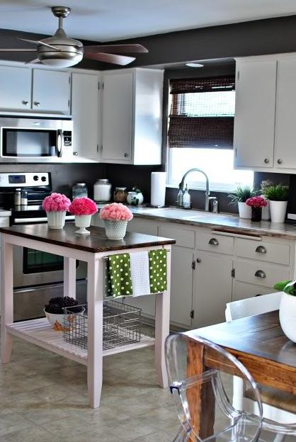 White Kitchen Cabinets In A Dark Room, Black Walls White Kitchen Cabinets